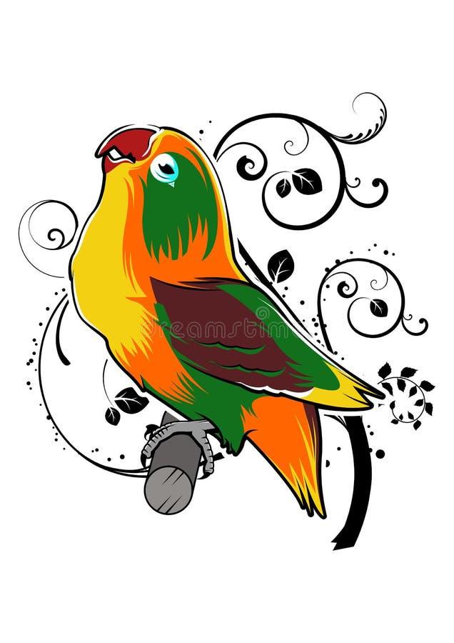 Kocha Ptasiej sztuki Ilustracyjnej Wektorowej kolorystyki dekoracyjnego tło zdjęcie stock