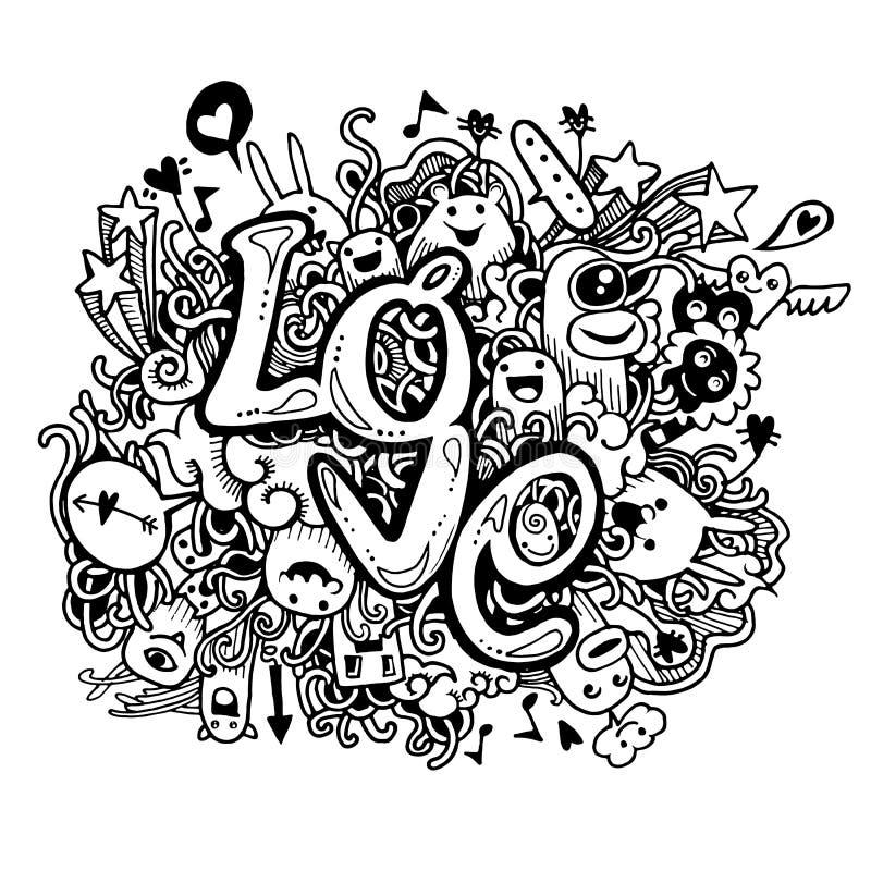 Kocha ręki literowanie i doodles elementu nakreślenia tło ilustracja wektor