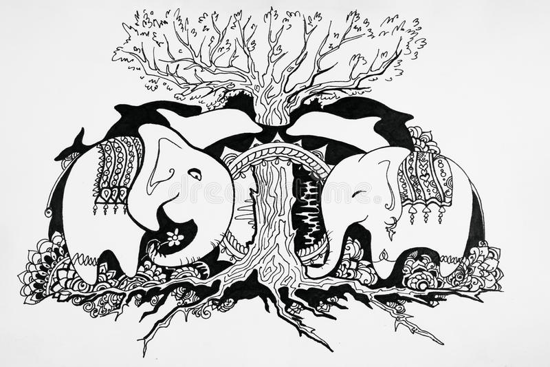 Kocha rodziny dwa słonie na tle drewno royalty ilustracja
