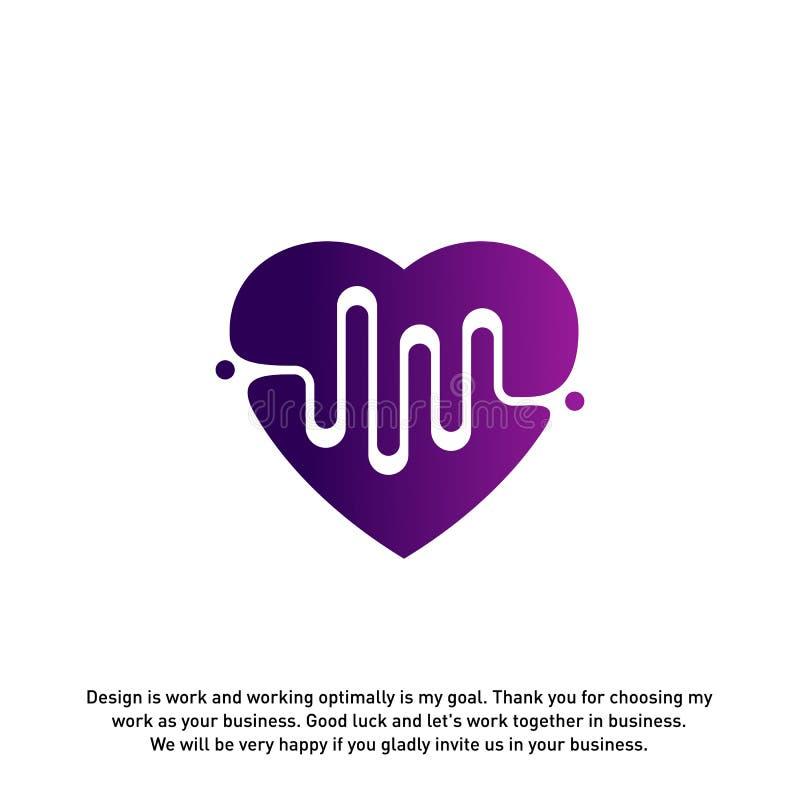 Kocha serce z pulsu logo wektorem, elementami i symbolami, szablon - wektor royalty ilustracja