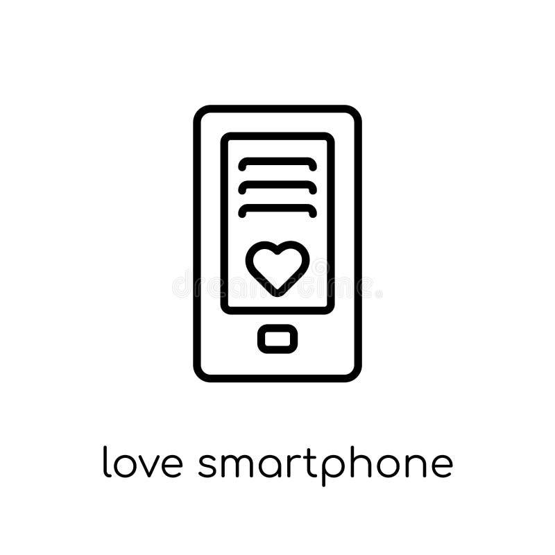 kocha Smartphone ikonę od ślubu i miłości kolekcji ilustracja wektor