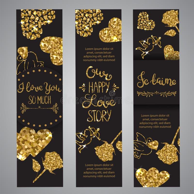 Kocha tekst na secie sztandaru Romantyczny literowanie z błyskotliwością Złoty tekst z błyska Karty dla walentynki wektor ilustracji