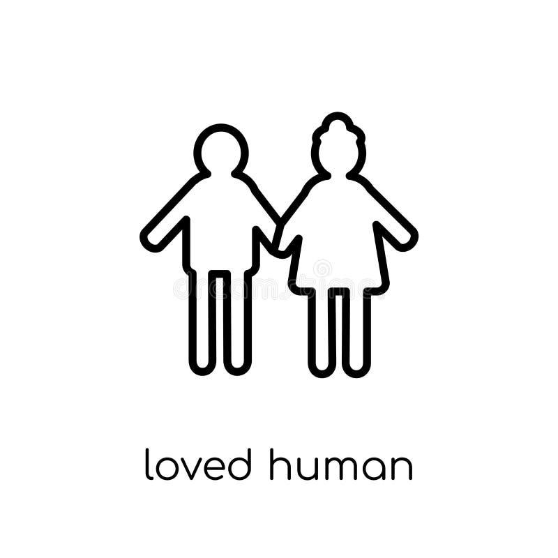 kochająca ludzka ikona Modny nowożytny płaski liniowy wektor kochał istoty ludzkiej ja royalty ilustracja