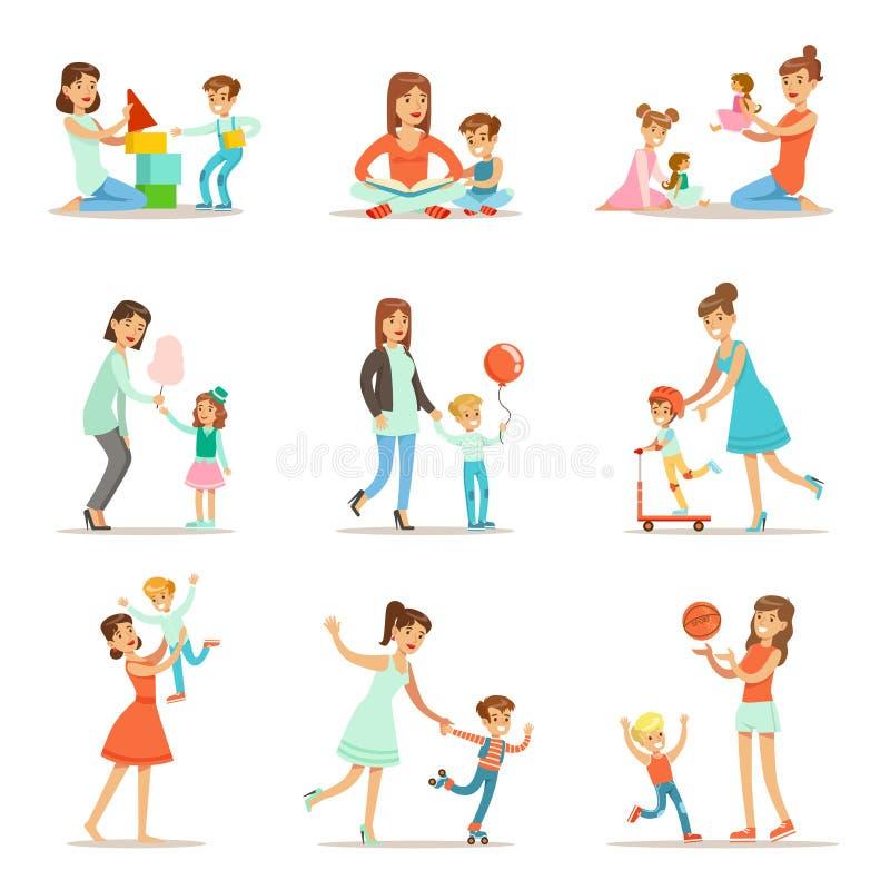 Kochająca matka Bawić się wysoka jakość mamuś czas I Cieszy się royalty ilustracja