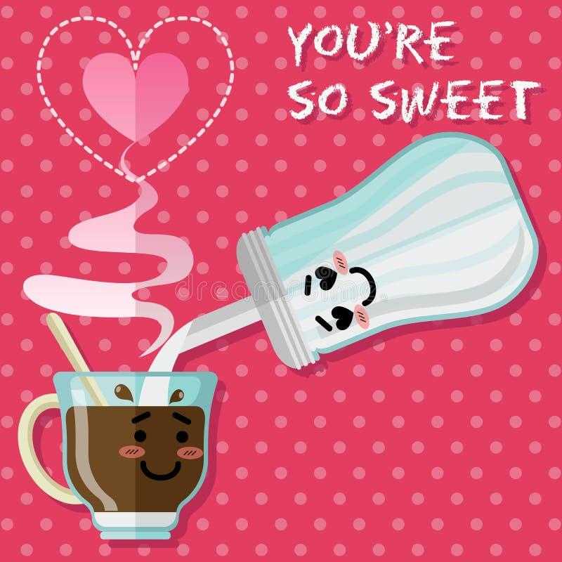 Kochająca para filiżanka i cukierniczka kawowa lub herbaciana royalty ilustracja
