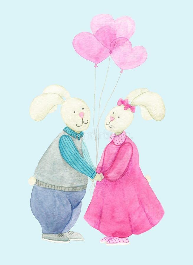 Kochająca para króliki z balonami fotografia stock