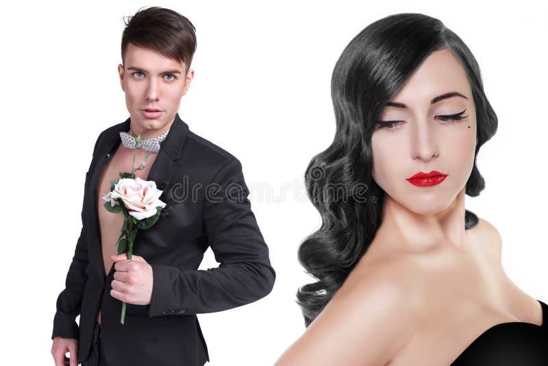 Kochająca para, mężczyzna z wzrastał zdjęcia royalty free