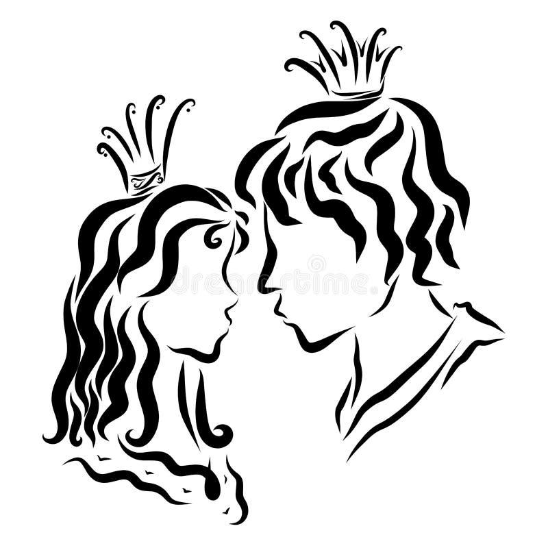Kochająca para patrzeje inny, książe i princess each, ilustracja wektor