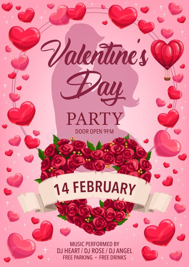 Kochająca para, serca, róże Walentynka dnia przyjęcie royalty ilustracja