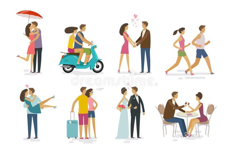 Kochająca para, set ikony Rodzina, miłości pojęcie obcy kreskówki kota ucieczek ilustraci dachu wektor ilustracji