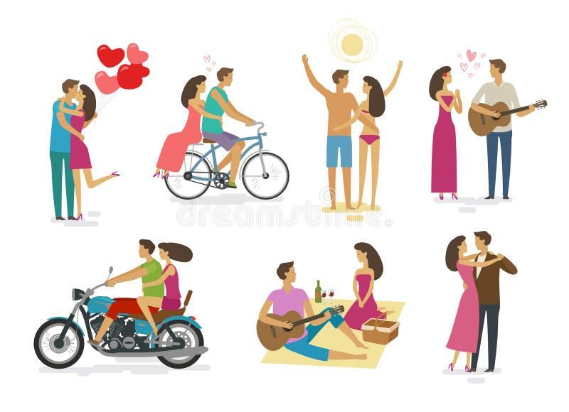 Kochająca para, set ikony Rodzina, miłości pojęcie obcy kreskówki kota ucieczek ilustraci dachu wektor ilustracja wektor