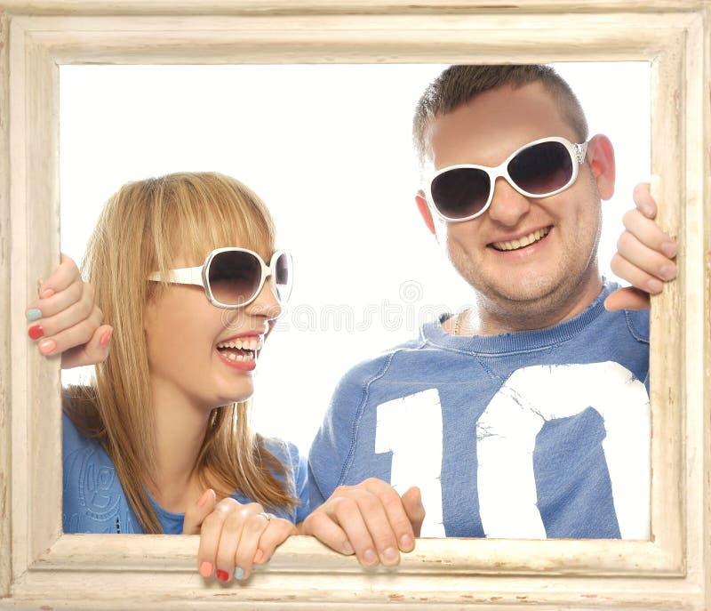 Kochająca para w obrazek ramie obrazy stock