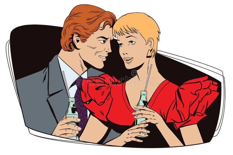 Kochająca para z butelkami lemoniada ilustracji