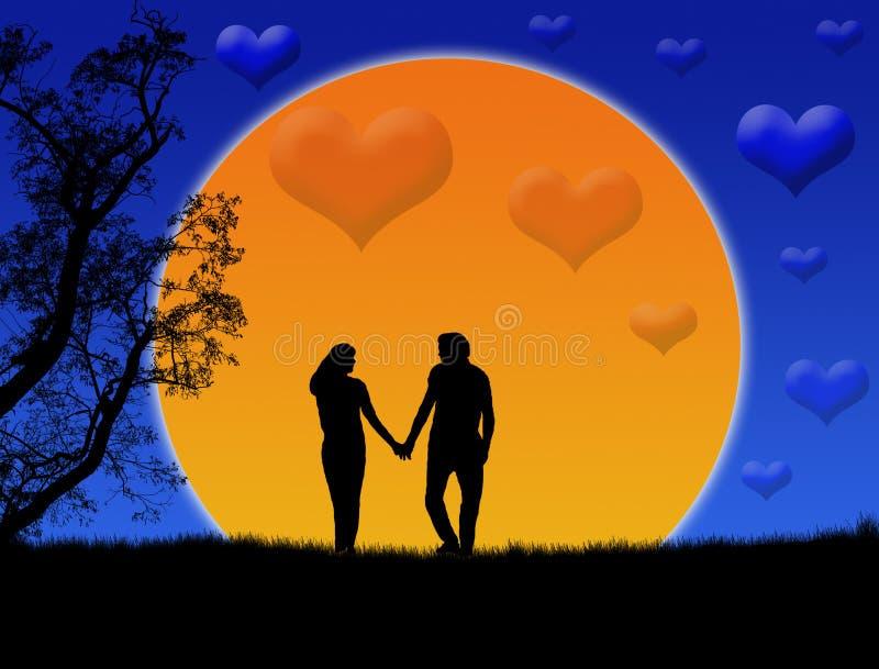 kochająca pary sylwetka ilustracji