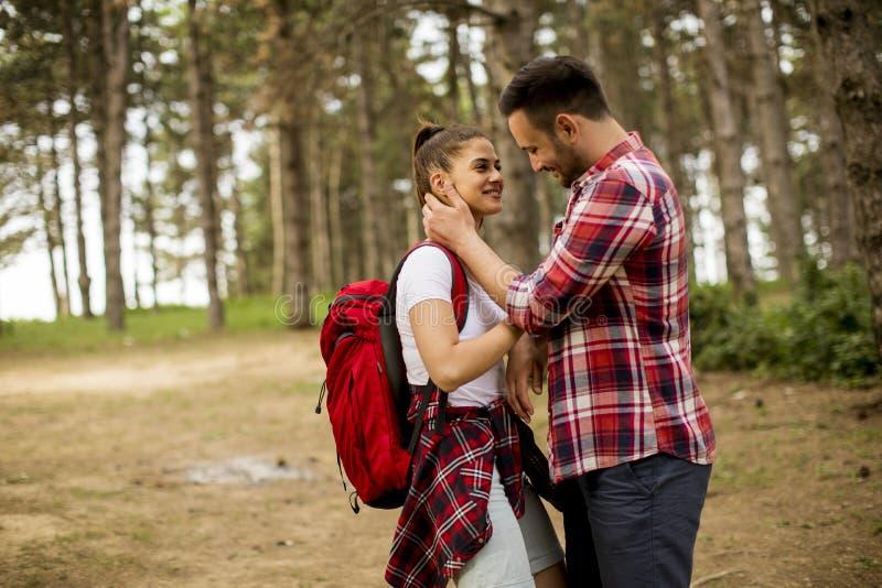 Kochający coulpe ma zabawę w lesie przy wiosna czasem zdjęcia stock
