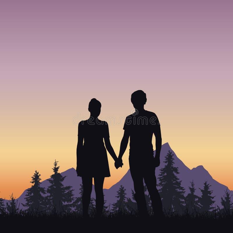 Kochający młody człowiek i kobieta na trawie przy drzewem i górami royalty ilustracja