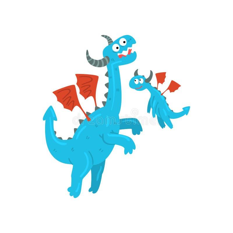 Kochający macierzysty smok i jej dziecko, śliczni błękitni oskrzydleni smoki, fantazj zwierząt mityczni postać z kreskówki wektor royalty ilustracja