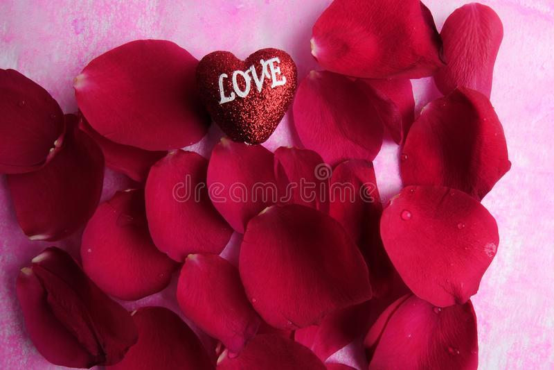 KOCHAJĄCY pojęcie z czerwieni róży płatkami i drukujący słowo miłość na czerwonym kierowym kształcie fotografia royalty free