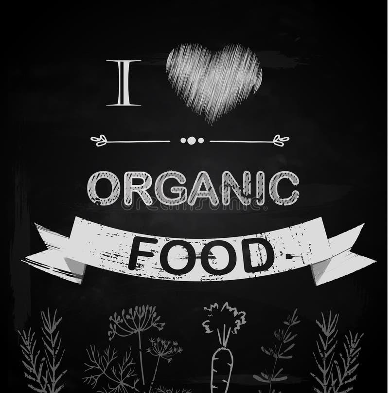 Kocham żywność organiczną royalty ilustracja