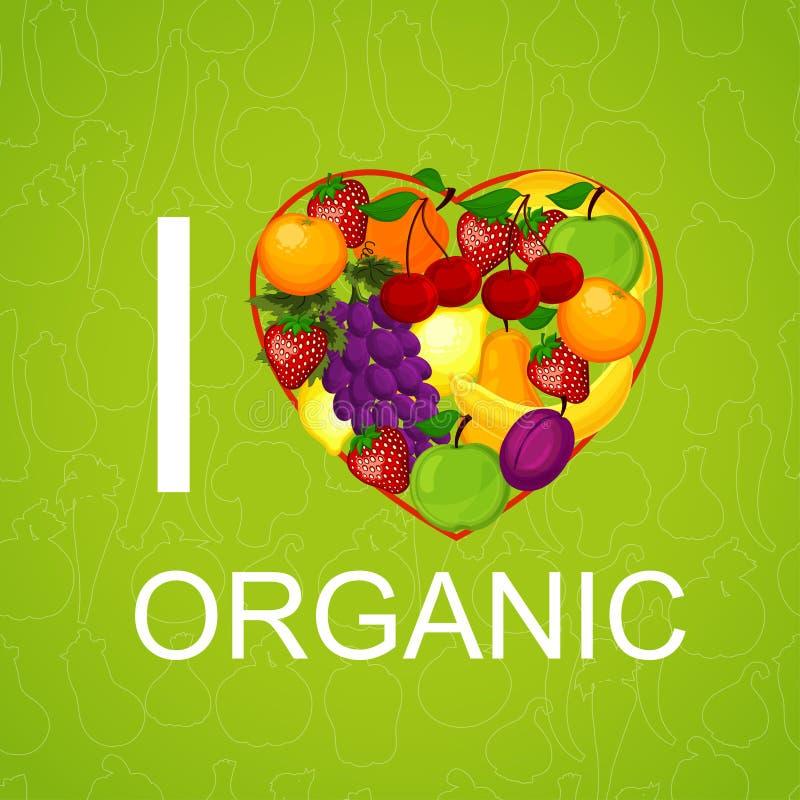 Kocham żywność organiczną ilustracja ilustracja wektor