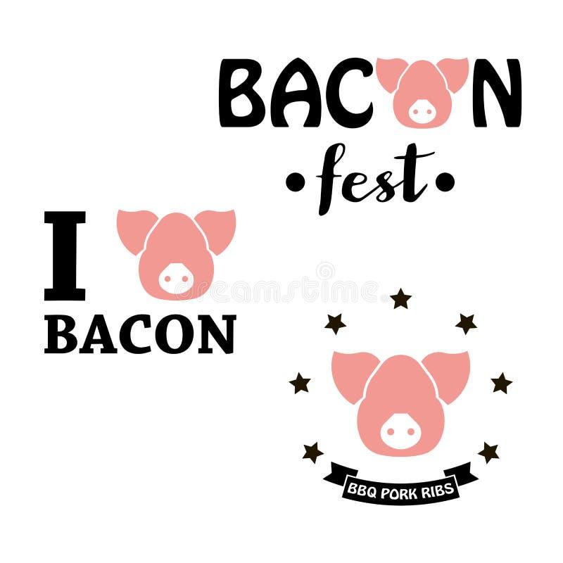 Kocham bekon, bekonowy fest, BBQ wieprzowiny ziobro, premii wieprzowiny mięso royalty ilustracja