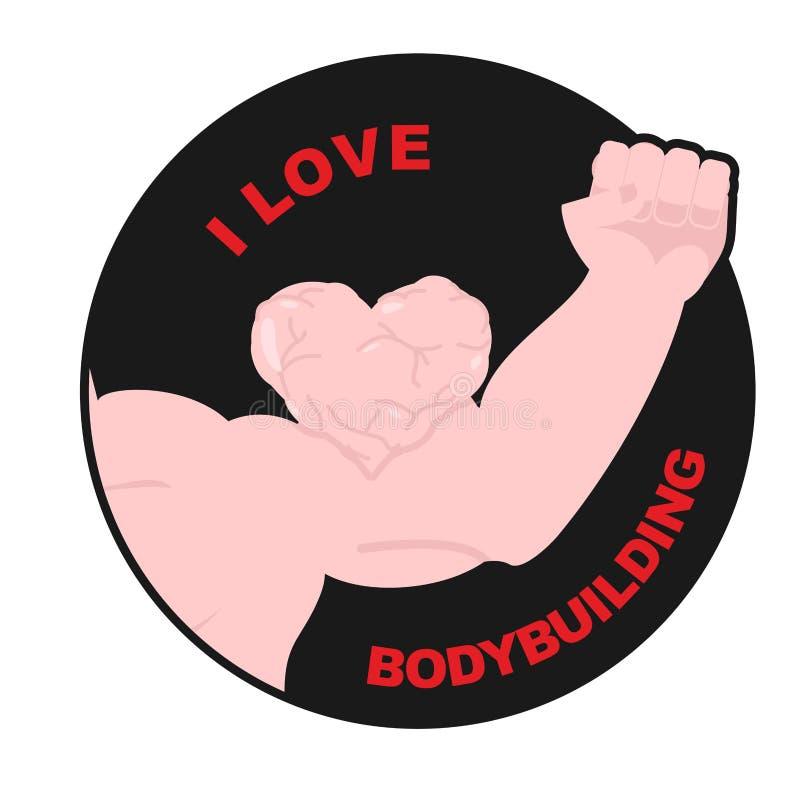 Kocham bodybuilding Mięśni bicepsów sympatia Ręki atlety dowcip royalty ilustracja