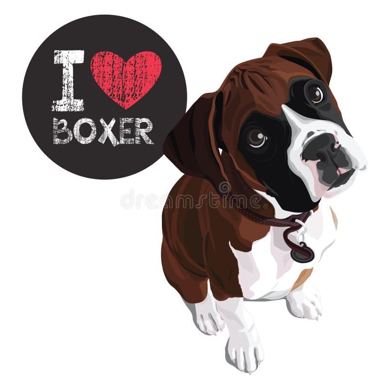 Kocham boksera royalty ilustracja