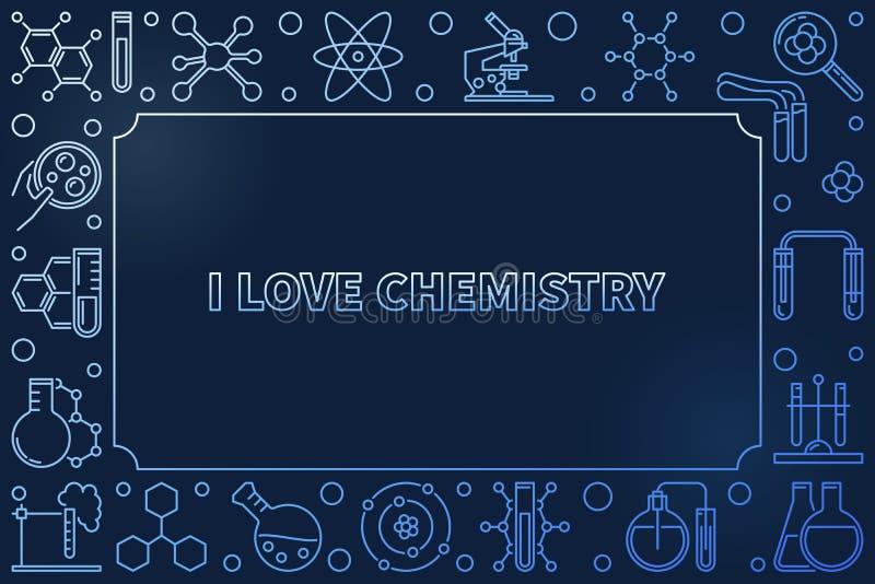 Kocham chemia konturu błękitną wektorową horyzontalną ilustrację royalty ilustracja