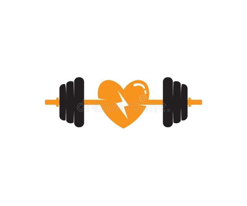 kocham ciężaru udźwig z barbel sprawności fizycznej logo ikony projektem ilustracja wektor