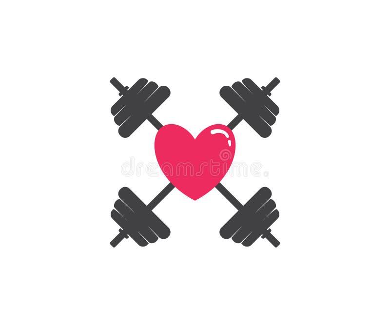 kocham ciężaru udźwig z barbel sprawności fizycznej logo ikony projektem ilustracji