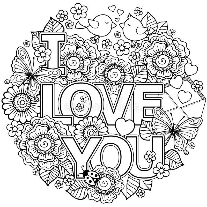 kocham cię Rounder rama robić kwiaty, motyle, ptaków całować i słowo miłość, ilustracji