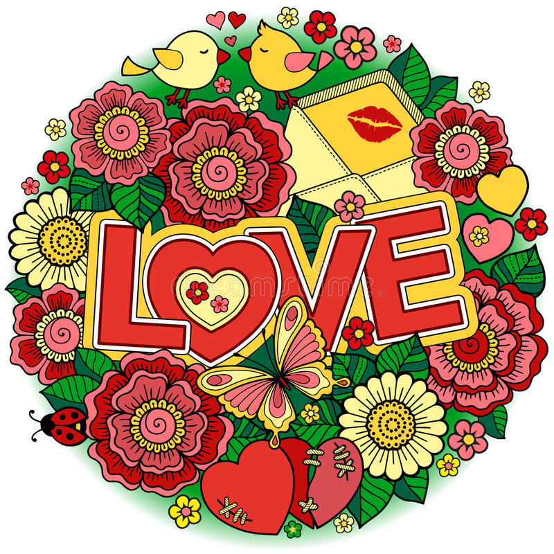 kocham cię Rounder rama robić kwiaty, motyle, ptaków całować i słowo miłość, royalty ilustracja