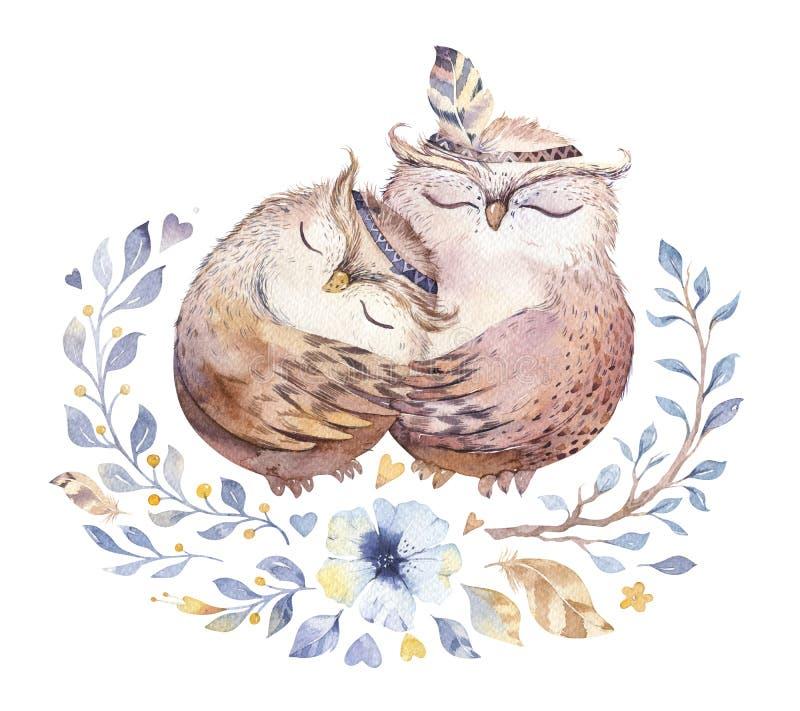 kocham cię Urocza akwareli ilustracja z słodkimi sowami, sercami i kwiatami w wspaniałych kolorach, Oszałamiająco romantyczny royalty ilustracja