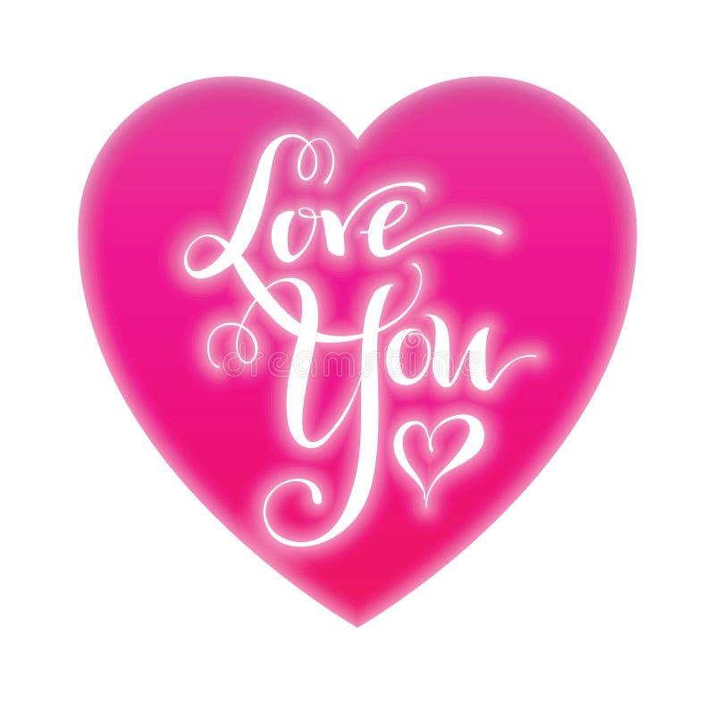 kocham cię Walentynka dnia kartka z pozdrowieniami z kaligrafią projekt rysująca elementów ręka Ręcznie pisany nowożytny szczotka ilustracja wektor