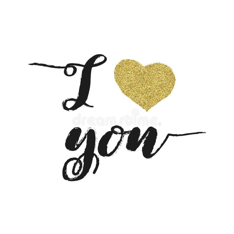 kocham cię Walentynka dnia kartka z pozdrowieniami z kaligrafią i sercem Złocisty błyskotliwość projekt zdjęcie royalty free