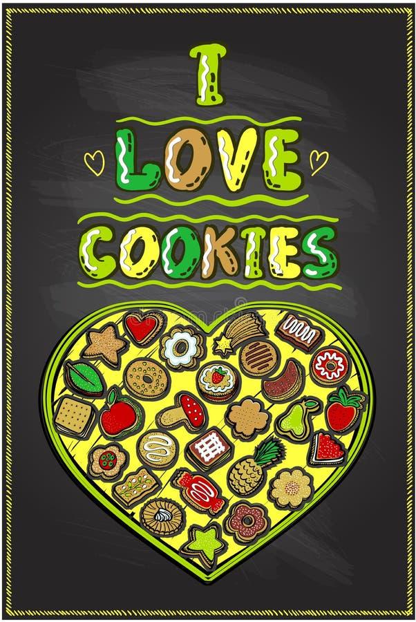 Kocham ciastka chalkboard plakat, ręka rysująca ilustracja z serce kształtującym ciastka pudełkiem ilustracja wektor