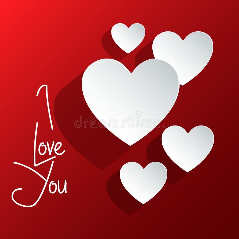 ` Kocham Ciebie ` abstrakt Biały serce walentynki ` s dnia abstrakta tło również zwrócić corel ilustracji wektora 10 eps ilustracja wektor