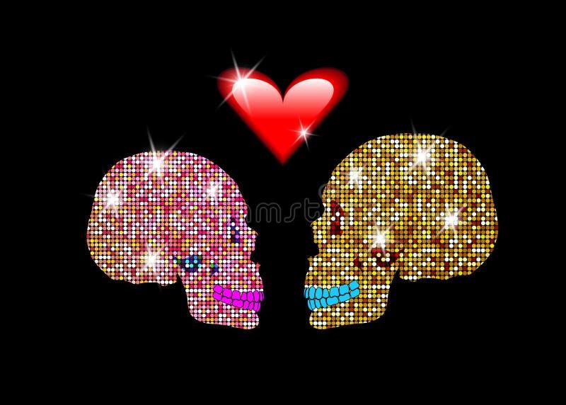 Kocham ciebie, Błyszczące błyskotliwe czaszki Dobieram się w miłości Pojęcie miłość, walentynki ` s dzień, dzień nieboszczyk ilustracji