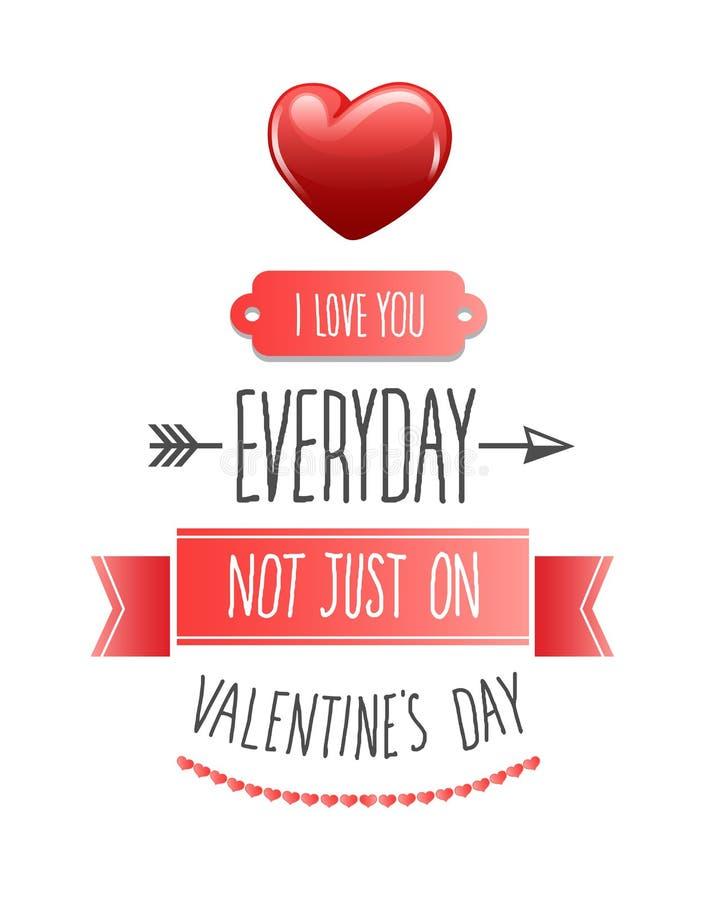 Kocham ciebie codzienni valentines wektorowi ilustracja wektor