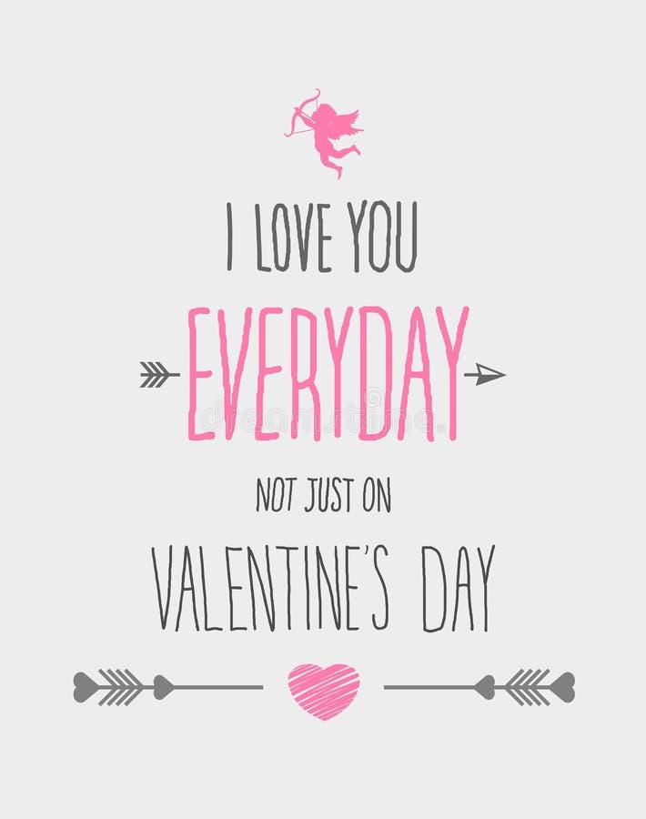 Kocham ciebie codzienni valentines wektorowi royalty ilustracja