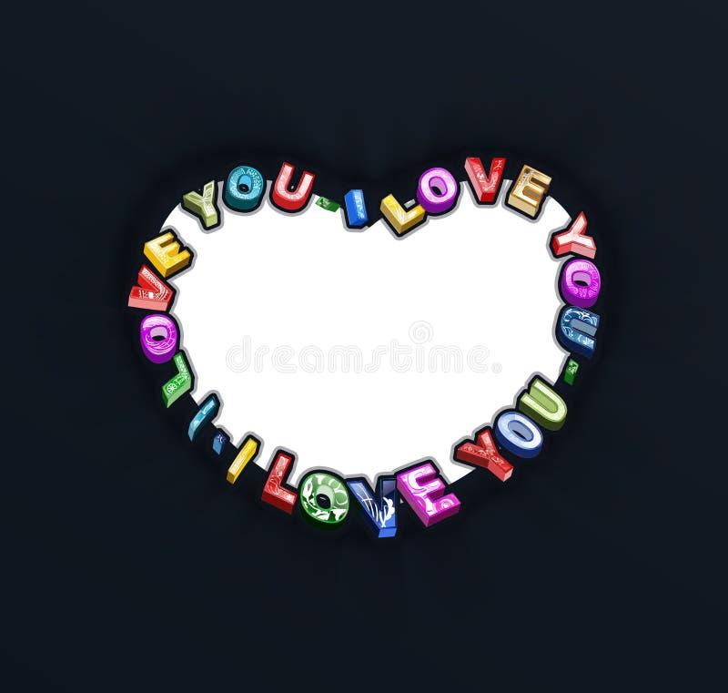 Kocham ciebie 3D tekst ilustracji