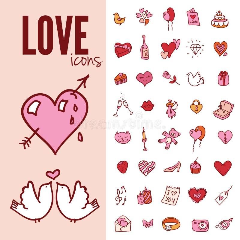 Kocham ciebie doodle ikony set, wektorowa ilustracja ilustracji