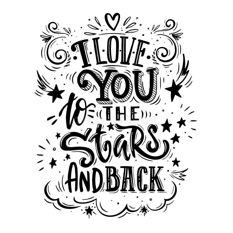 Kocham ciebie gwiazdy i popieram ilustracja wektor