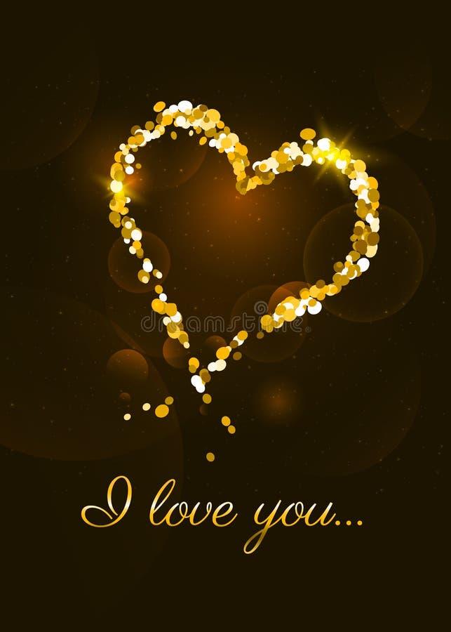 Kocham ciebie karcianego z złotym błyskotliwości sercem royalty ilustracja
