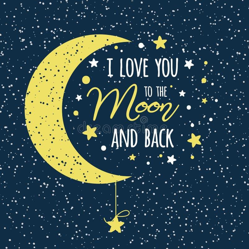 Kocham ciebie księżyc i popieram St walentynek dnia inspiracyjnej wyceny księżyc żółty niebo pełno gwiazdy royalty ilustracja