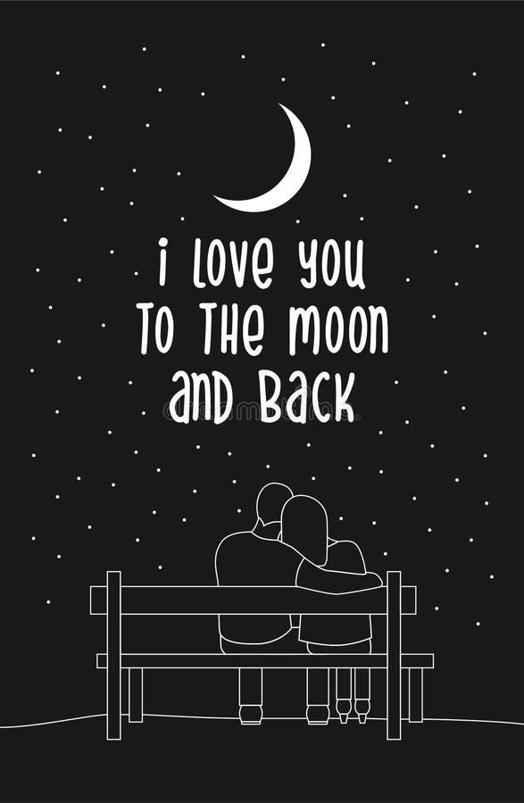 Kocham ciebie księżyc i tylny typografii literowania plakat z romantyczną sylwetką kochająca para siedzi na ławce ilustracji