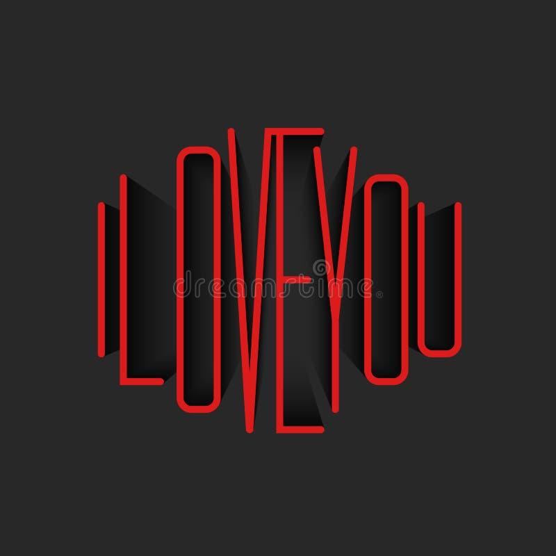 Kocham Ciebie literowanie czerwonego monograma plakatowy mockup, valentine jestem dzień kartki z pozdrowieniami tła szablonem ilustracja wektor