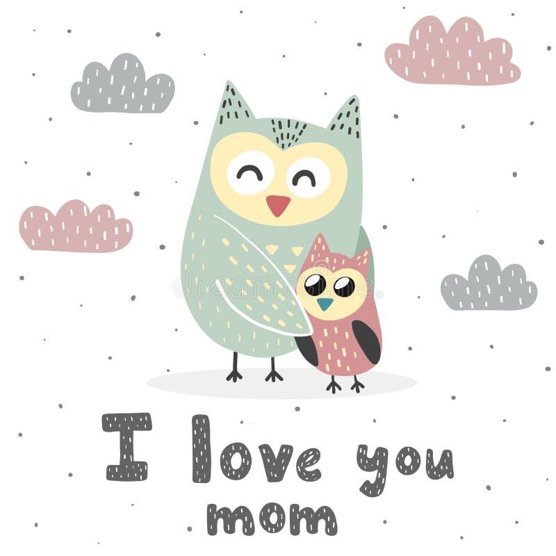 Kocham Ciebie mama druk z ślicznymi sowami royalty ilustracja