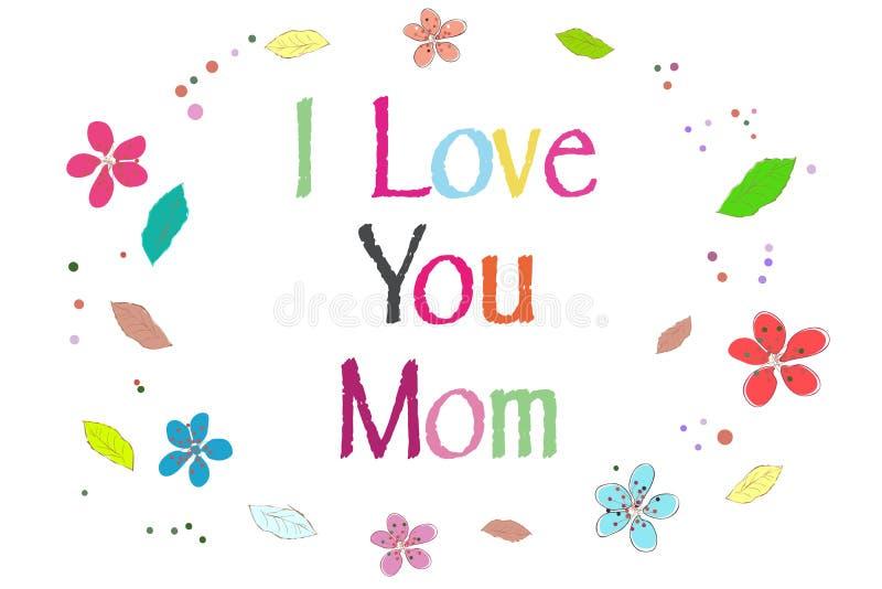 Kocham ciebie mama na matka dnia kartka z pozdrowieniami drukujących balonach wektorowych ilustracja wektor