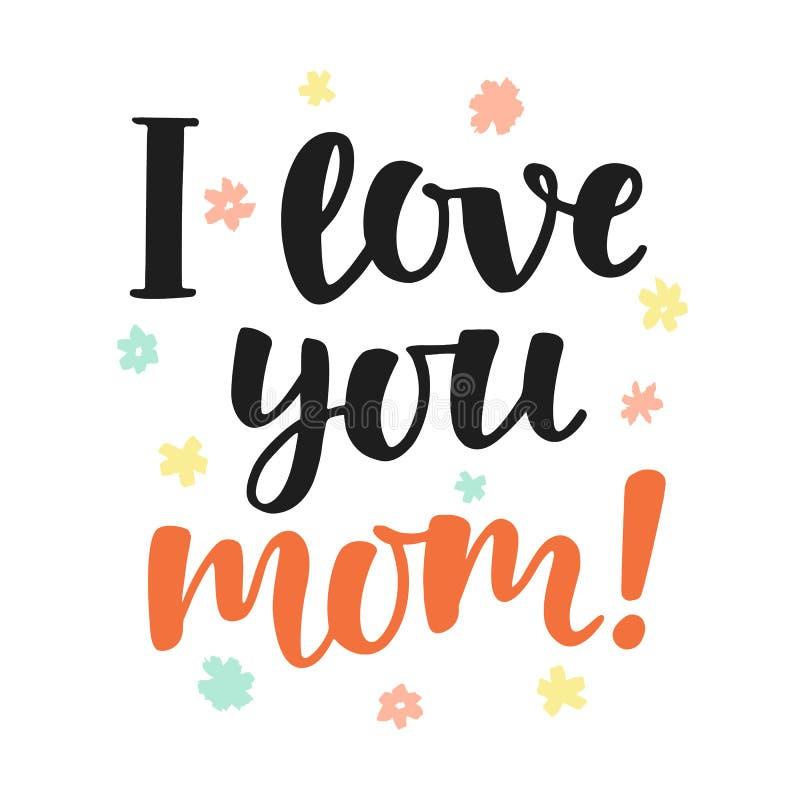 Kocham ciebie, mama Ręcznie pisany literowanie ilustracji